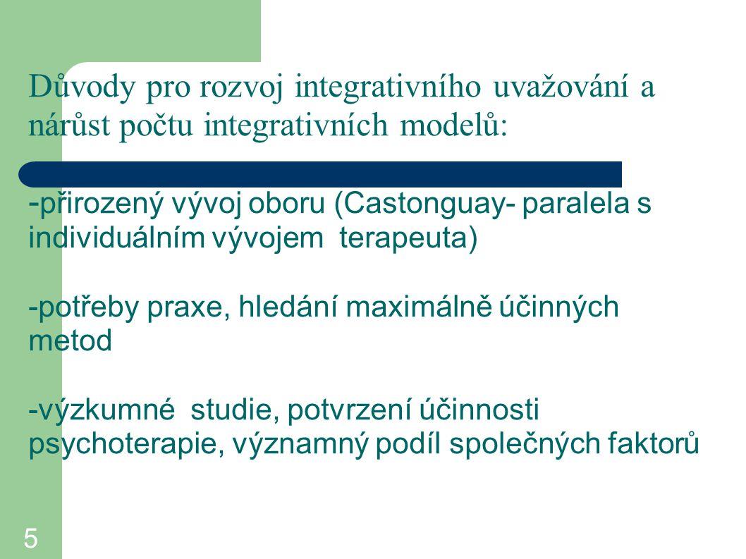 5 Důvody pro rozvoj integrativního uvažování a nárůst počtu integrativních modelů: - přirozený vývoj oboru (Castonguay- paralela s individuálním vývoj