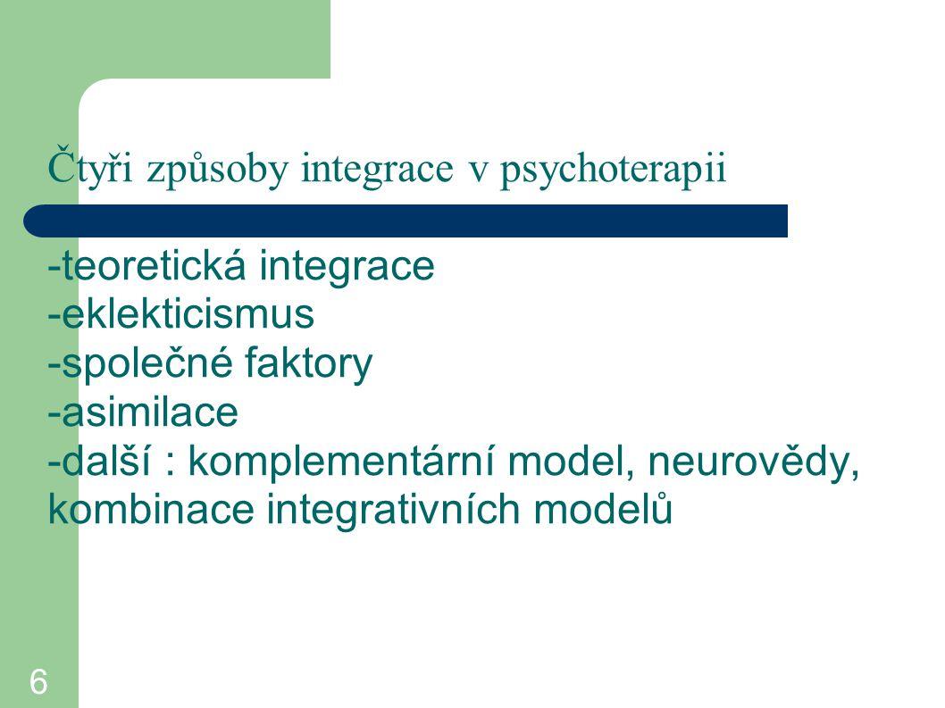 6 Čtyři způsoby integrace v psychoterapii -teoretická integrace -eklekticismus -společné faktory -asimilace -další : komplementární model, neurovědy,