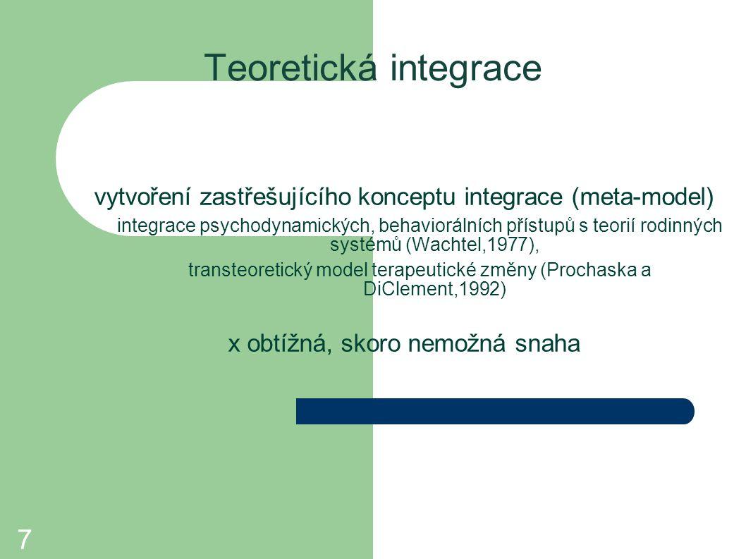 7 Teoretická integrace vytvoření zastřešujícího konceptu integrace (meta-model) integrace psychodynamických, behaviorálních přístupů s teorií rodinný