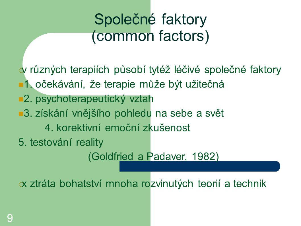 9 Společné faktory (common factors)  v různých terapiích působí tytéž léčivé společné faktory 1. očekávání, že terapie může být užitečná 2. psychote