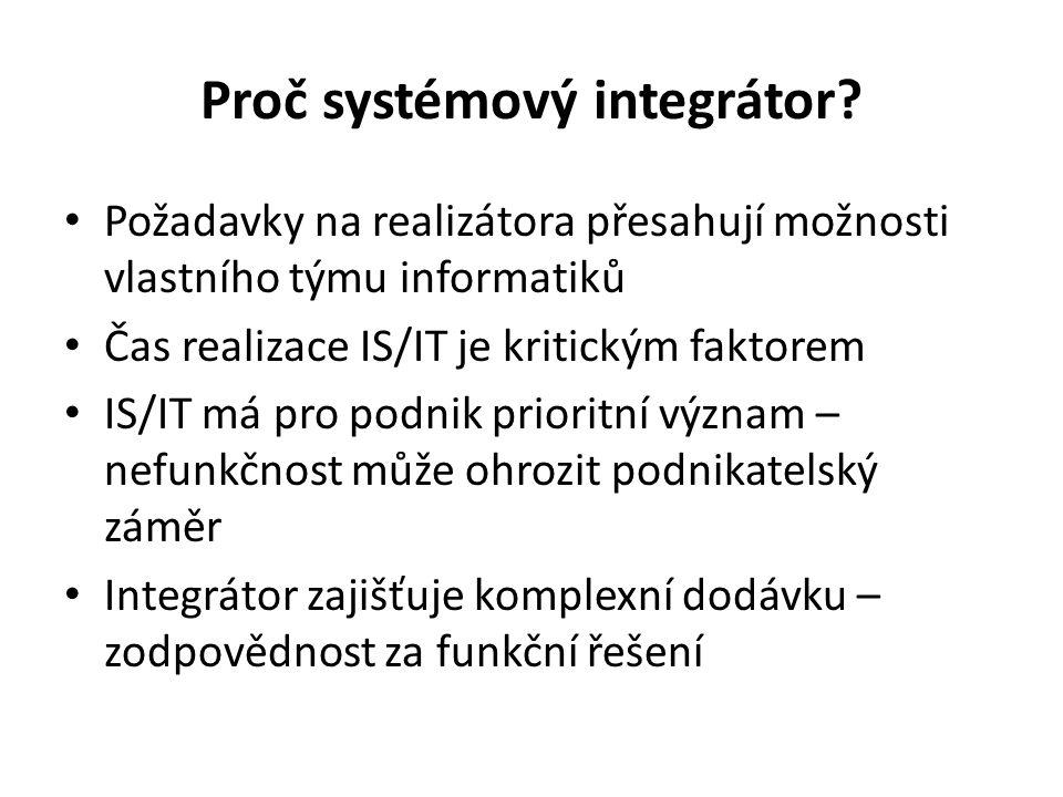 Proč systémový integrátor? Požadavky na realizátora přesahují možnosti vlastního týmu informatiků Čas realizace IS/IT je kritickým faktorem IS/IT má p