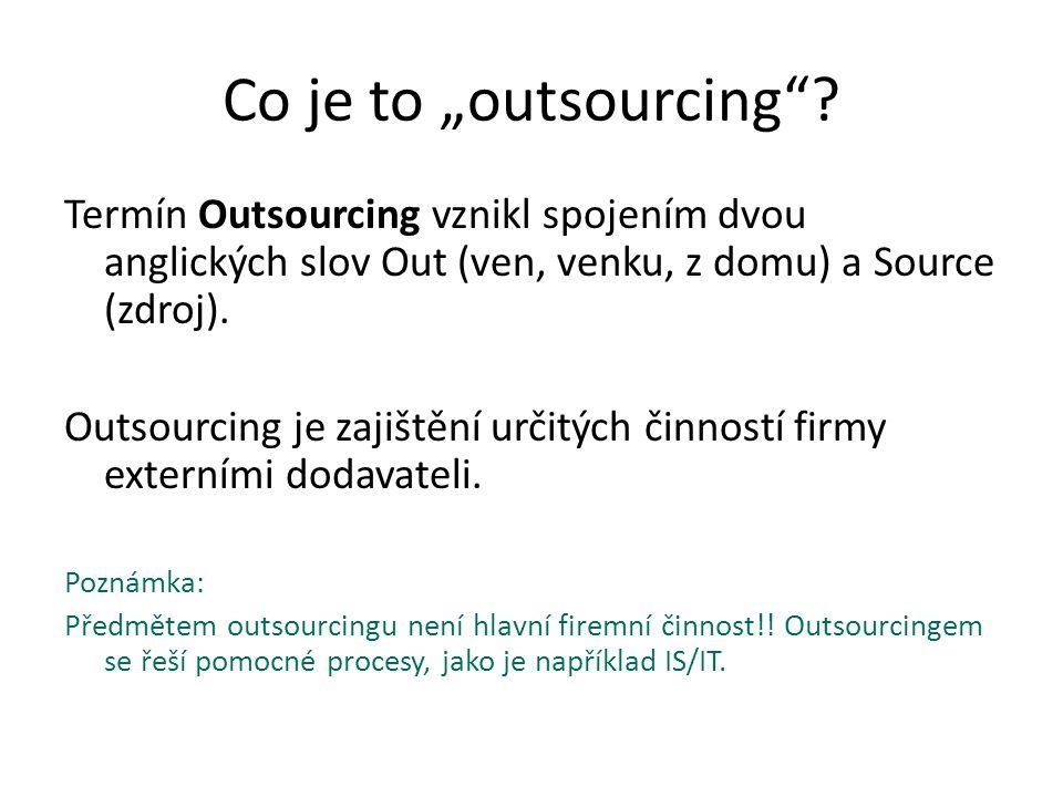 """Co je to """"outsourcing""""? Termín Outsourcing vznikl spojením dvou anglických slov Out (ven, venku, z domu) a Source (zdroj). Outsourcing je zajištění ur"""