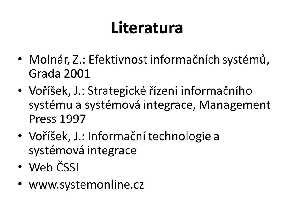 Literatura Molnár, Z.: Efektivnost informačních systémů, Grada 2001 Voříšek, J.: Strategické řízení informačního systému a systémová integrace, Manage