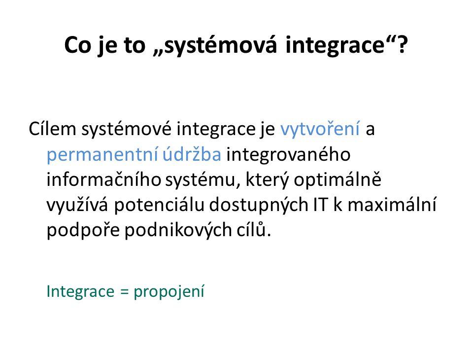 """Co je to """"systémová integrace""""? Cílem systémové integrace je vytvoření a permanentní údržba integrovaného informačního systému, který optimálně využív"""