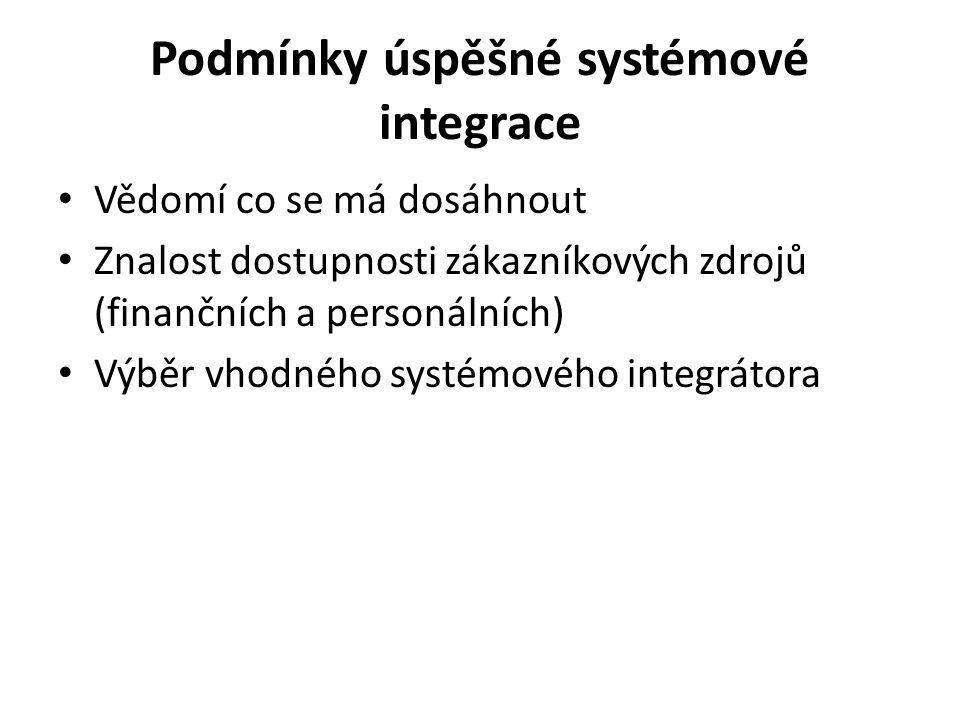 Podmínky úspěšné systémové integrace Vědomí co se má dosáhnout Znalost dostupnosti zákazníkových zdrojů (finančních a personálních) Výběr vhodného sys
