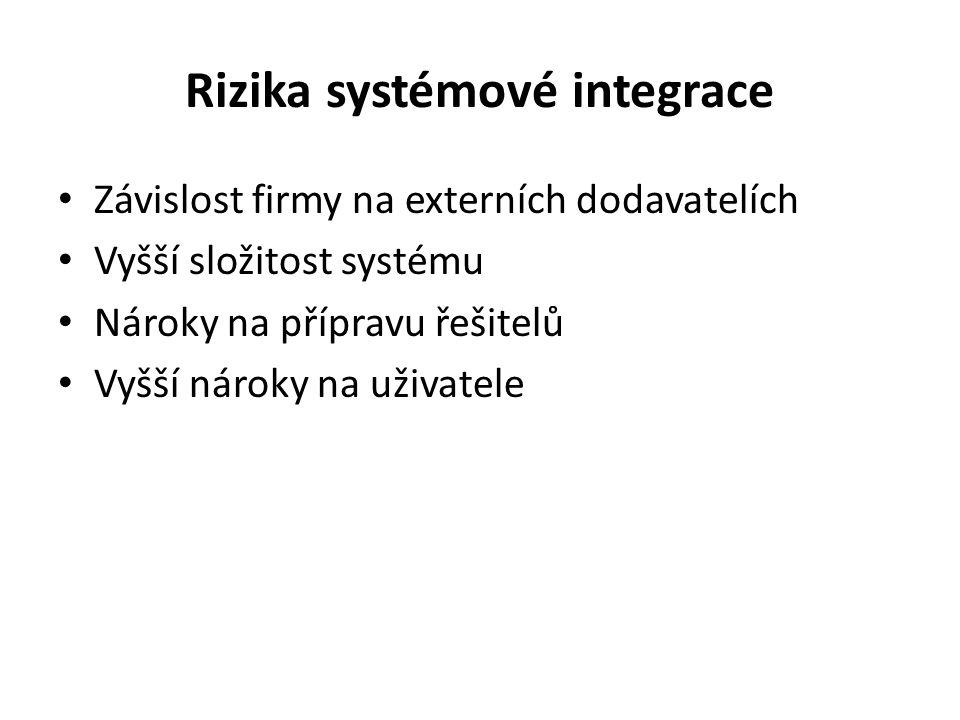 Rizika systémové integrace Závislost firmy na externích dodavatelích Vyšší složitost systému Nároky na přípravu řešitelů Vyšší nároky na uživatele