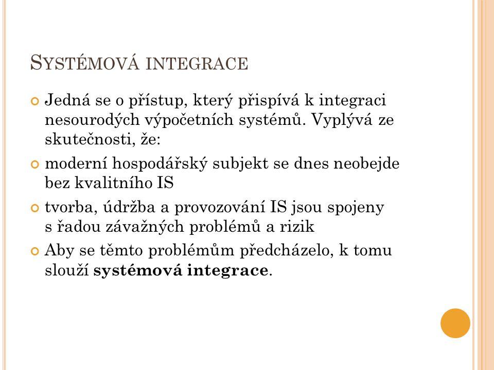 S YSTÉMOVÁ INTEGRACE Jedná se o přístup, který přispívá k integraci nesourodých výpočetních systémů.