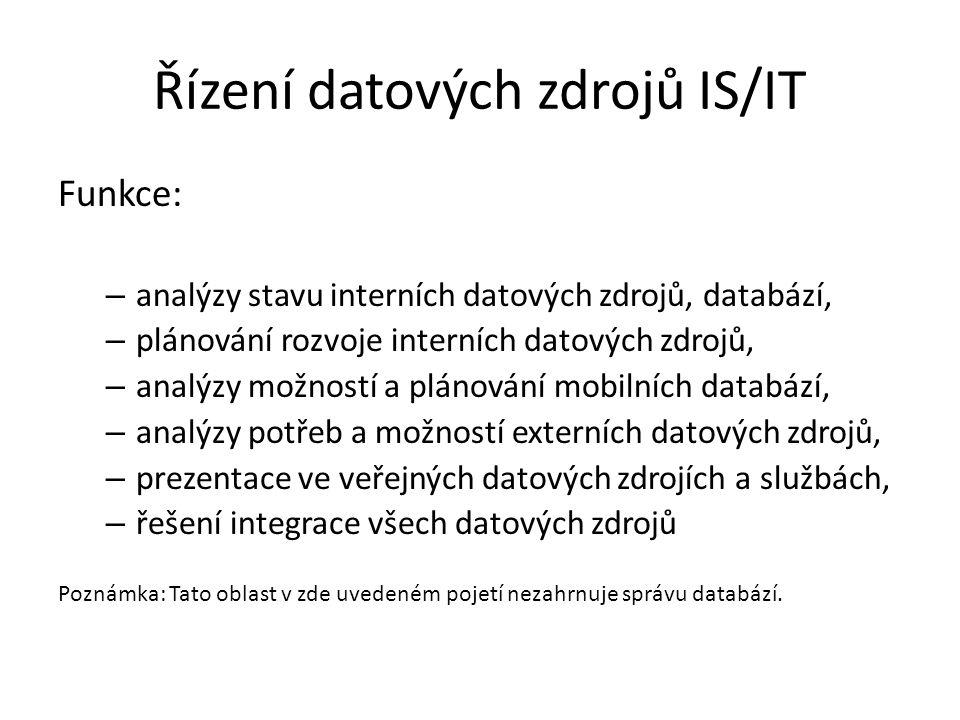 Řízení datových zdrojů IS/IT Funkce: – analýzy stavu interních datových zdrojů, databází, – plánování rozvoje interních datových zdrojů, – analýzy mož