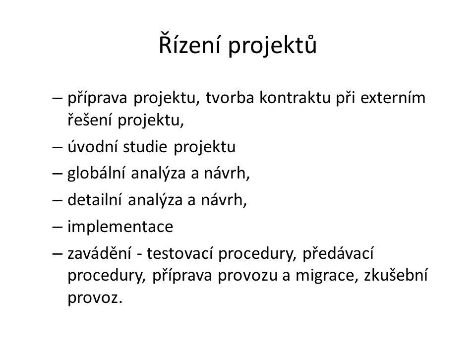 Řízení projektů – příprava projektu, tvorba kontraktu při externím řešení projektu, – úvodní studie projektu – globální analýza a návrh, – detailní an