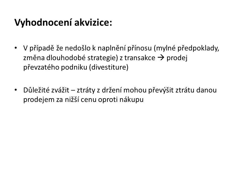 Vyhodnocení akvizice: V případě že nedošlo k naplnění přínosu (mylné předpoklady, změna dlouhodobé strategie) z transakce  prodej převzatého podniku
