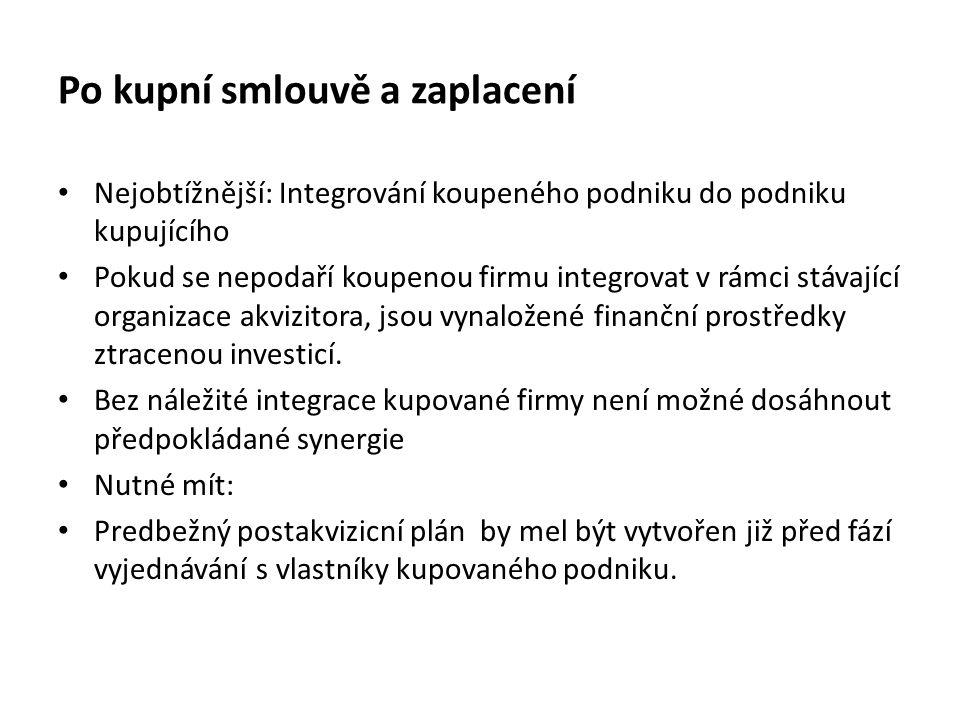 Po kupní smlouvě a zaplacení Nejobtížnější: Integrování koupeného podniku do podniku kupujícího Pokud se nepodaří koupenou firmu integrovat v rámci st