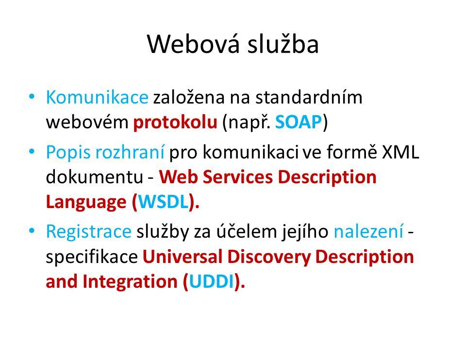 Webová služba Komunikace založena na standardním webovém protokolu (např. SOAP) Popis rozhraní pro komunikaci ve formě XML dokumentu - Web Services De