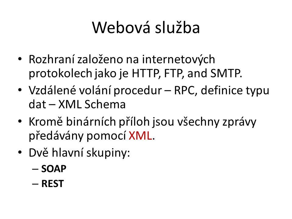Webová služba Rozhraní založeno na internetových protokolech jako je HTTP, FTP, and SMTP. Vzdálené volání procedur – RPC, definice typu dat – XML Sche