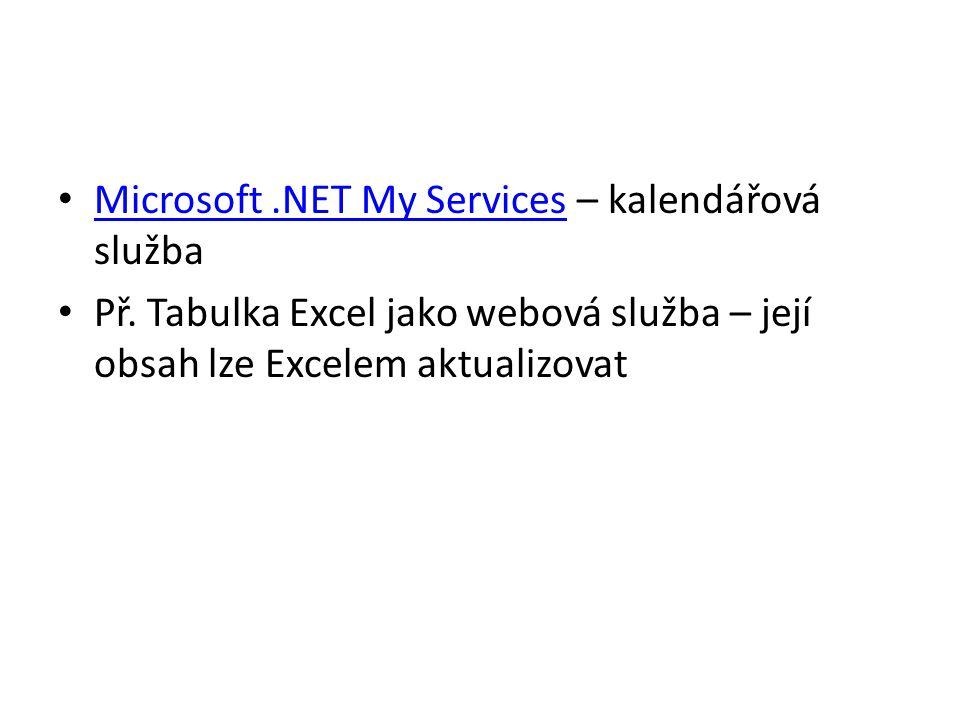 Microsoft.NET My Services – kalendářová služba Microsoft.NET My Services Př. Tabulka Excel jako webová služba – její obsah lze Excelem aktualizovat