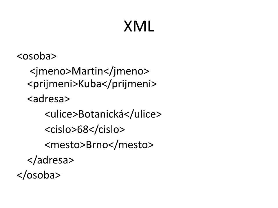 XML Martin Kuba Botanická 68 Brno