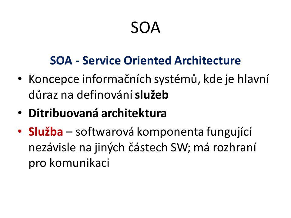 SOA SOA - Service Oriented Architecture Koncepce informačních systémů, kde je hlavní důraz na definování služeb Ditribuovaná architektura Služba – sof