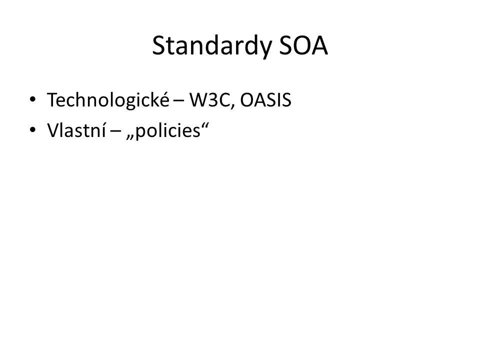 """Standardy SOA Technologické – W3C, OASIS Vlastní – """"policies"""""""