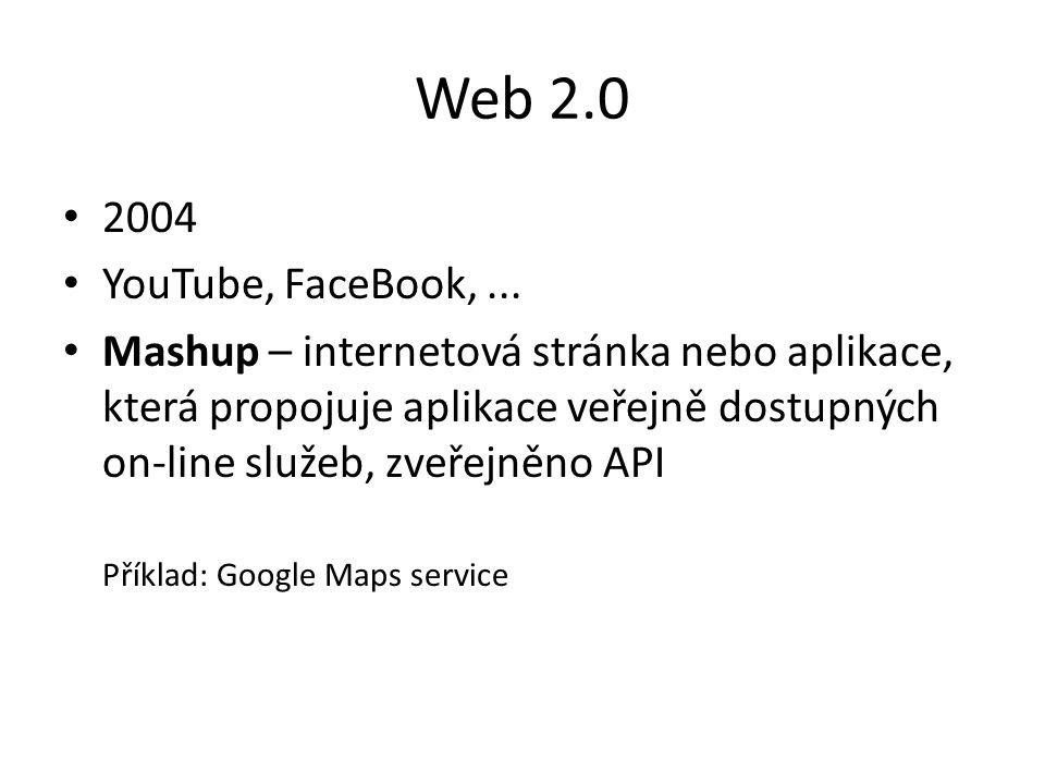 Web 2.0 2004 YouTube, FaceBook,... Mashup – internetová stránka nebo aplikace, která propojuje aplikace veřejně dostupných on-line služeb, zveřejněno