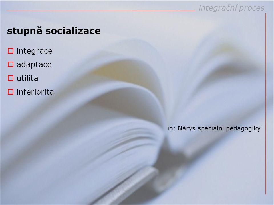 stupně socializace  integrace  adaptace  utilita  inferiorita in: Nárys speciální pedagogiky integrační proces
