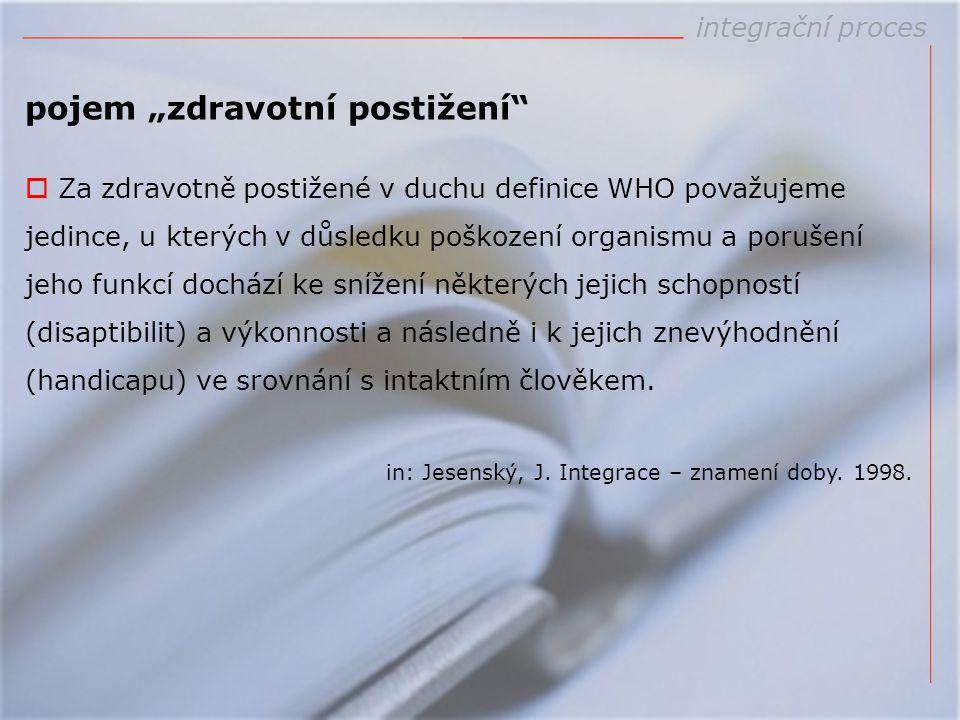 """pojem """"zdravotní postižení""""  Za zdravotně postižené v duchu definice WHO považujeme jedince, u kterých v důsledku poškození organismu a porušení jeho"""