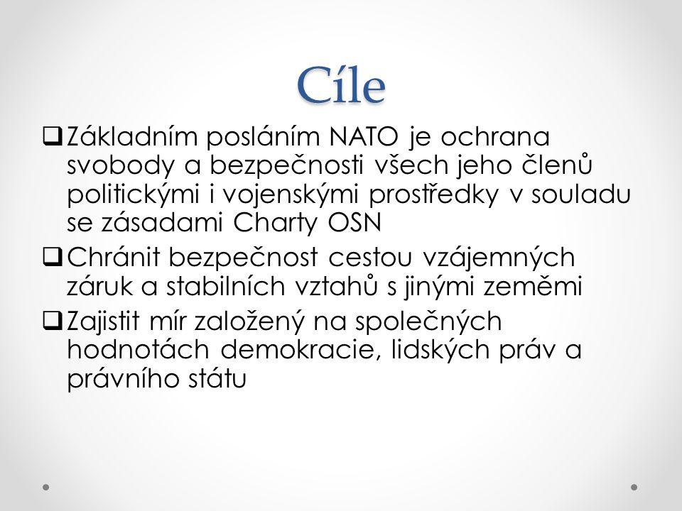 Cíle ZZákladním posláním NATO je ochrana svobody a bezpečnosti všech jeho členů politickými i vojenskými prostředky v souladu se zásadami Charty OSN