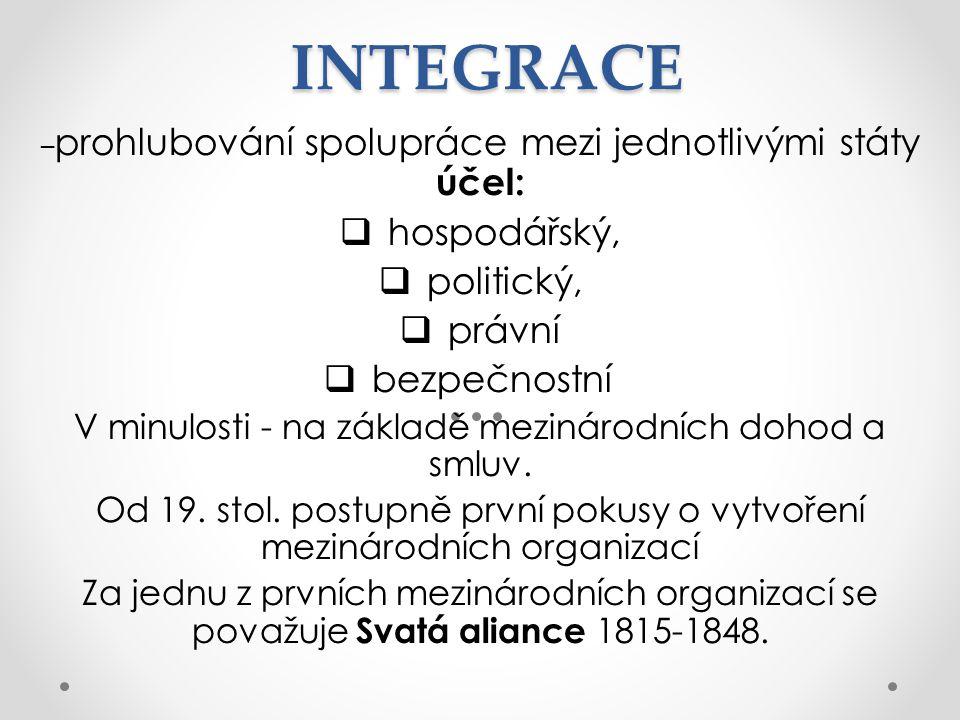 INTEGRACE – prohlubování spolupráce mezi jednotlivými státy účel:  hospodářský,  politický,  právní  bezpečnostní V minulosti - na základě mezinárodních dohod a smluv.