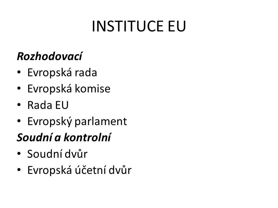 INSTITUCE EU Rozhodovací Evropská rada Evropská komise Rada EU Evropský parlament Soudní a kontrolní Soudní dvůr Evropská účetní dvůr
