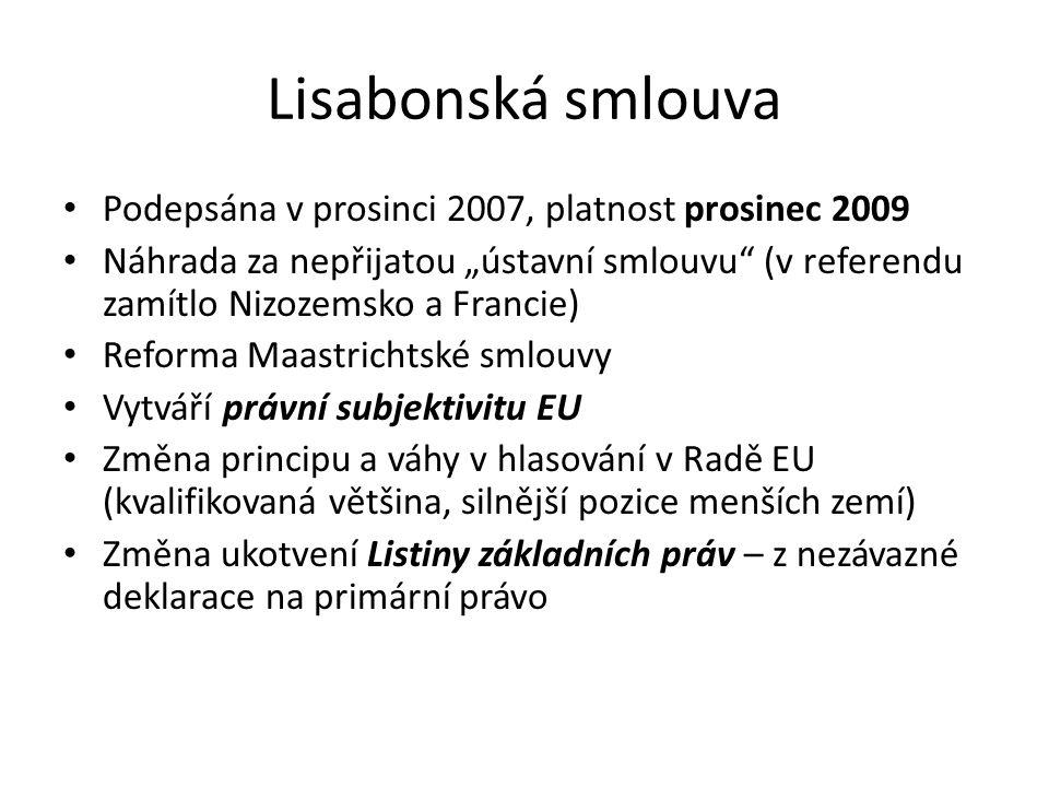 """Lisabonská smlouva Podepsána v prosinci 2007, platnost prosinec 2009 Náhrada za nepřijatou """"ústavní smlouvu"""" (v referendu zamítlo Nizozemsko a Francie"""