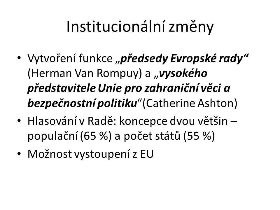 """Institucionální změny Vytvoření funkce """"předsedy Evropské rady"""" (Herman Van Rompuy) a """"vysokého představitele Unie pro zahraniční věci a bezpečnostní"""