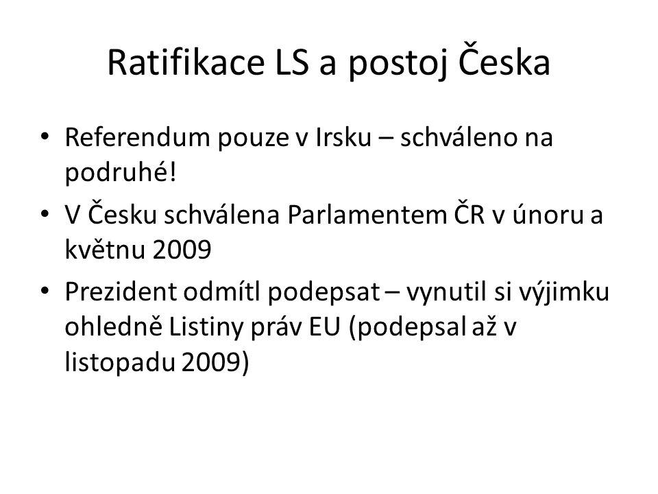 Ratifikace LS a postoj Česka Referendum pouze v Irsku – schváleno na podruhé! V Česku schválena Parlamentem ČR v únoru a květnu 2009 Prezident odmítl