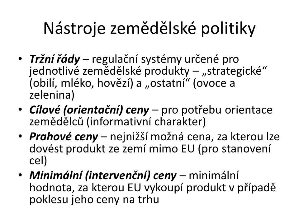 """Nástroje zemědělské politiky Tržní řády – regulační systémy určené pro jednotlivé zemědělské produkty – """"strategické"""" (obilí, mléko, hovězí) a """"ostatn"""