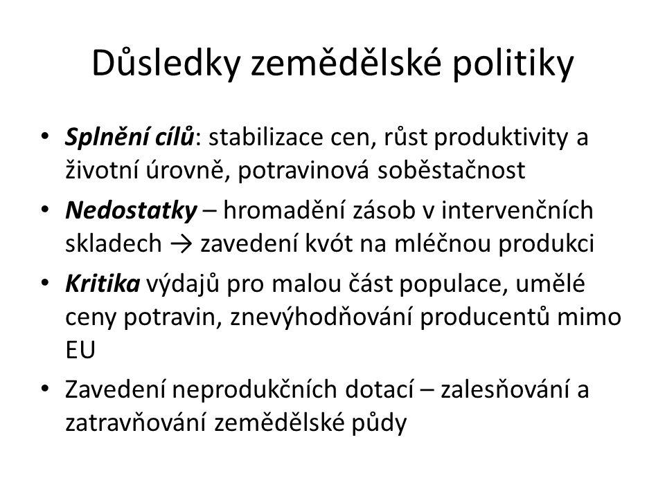 Důsledky zemědělské politiky Splnění cílů: stabilizace cen, růst produktivity a životní úrovně, potravinová soběstačnost Nedostatky – hromadění zásob