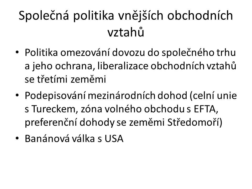 Společná politika vnějších obchodních vztahů Politika omezování dovozu do společného trhu a jeho ochrana, liberalizace obchodních vztahů se třetími ze