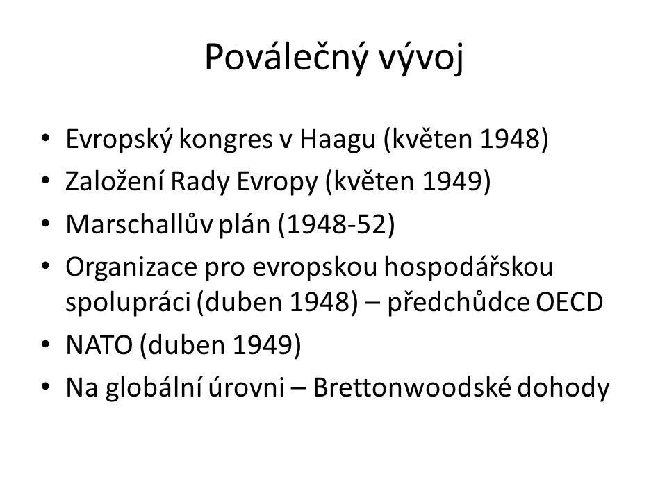 Poválečný vývoj Evropský kongres v Haagu (květen 1948) Založení Rady Evropy (květen 1949) Marschallův plán (1948-52) Organizace pro evropskou hospodář