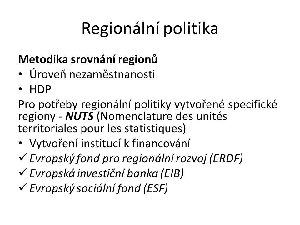 Regionální politika Metodika srovnání regionů Úroveň nezaměstnanosti HDP Pro potřeby regionální politiky vytvořené specifické regiony - NUTS (Nomencla