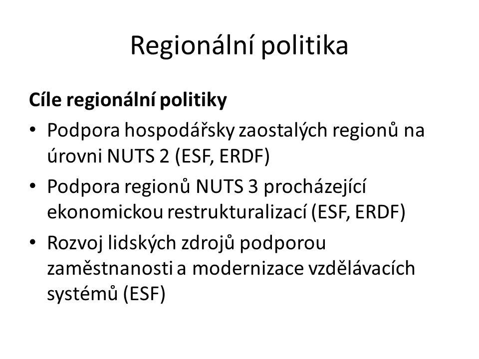 Regionální politika Cíle regionální politiky Podpora hospodářsky zaostalých regionů na úrovni NUTS 2 (ESF, ERDF) Podpora regionů NUTS 3 procházející e