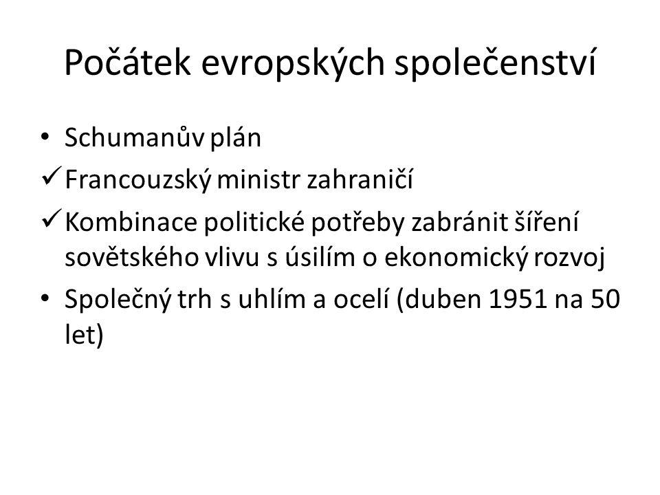 Počátek evropských společenství Schumanův plán Francouzský ministr zahraničí Kombinace politické potřeby zabránit šíření sovětského vlivu s úsilím o e