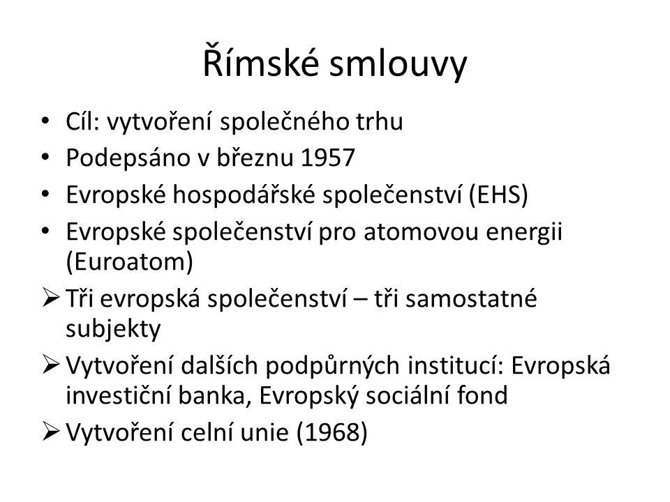 Římské smlouvy Cíl: vytvoření společného trhu Podepsáno v březnu 1957 Evropské hospodářské společenství (EHS) Evropské společenství pro atomovou energ