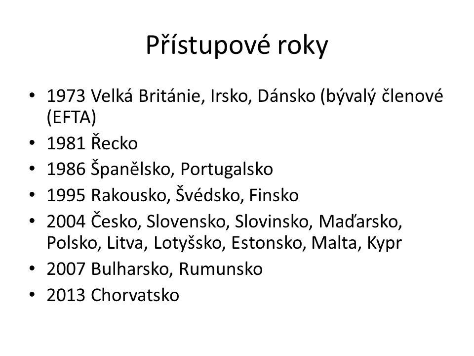 Přístupové roky 1973 Velká Británie, Irsko, Dánsko (bývalý členové (EFTA) 1981 Řecko 1986 Španělsko, Portugalsko 1995 Rakousko, Švédsko, Finsko 2004 Č