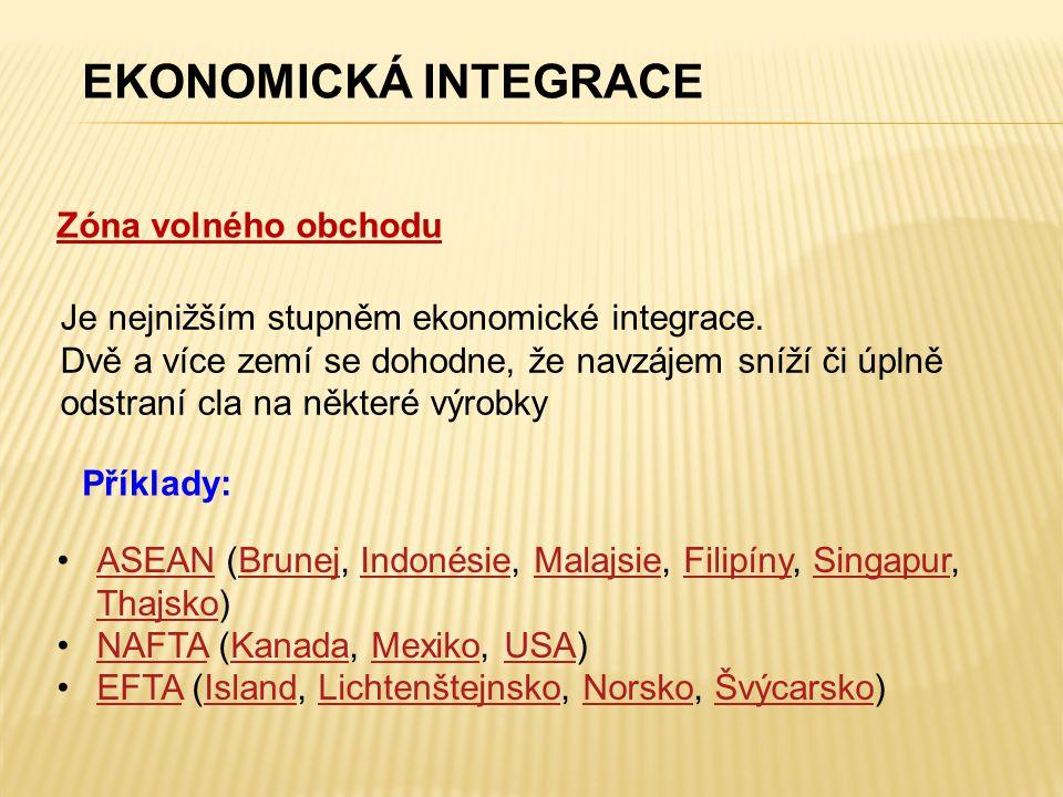Zóna volného obchodu EKONOMICKÁ INTEGRACE Je nejnižším stupněm ekonomické integrace. Dvě a více zemí se dohodne, že navzájem sníží či úplně odstraní c