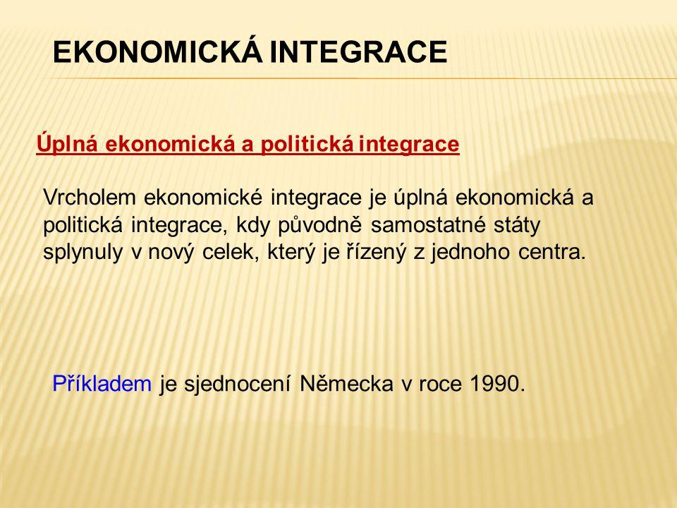 Úplná ekonomická a politická integrace EKONOMICKÁ INTEGRACE Vrcholem ekonomické integrace je úplná ekonomická a politická integrace, kdy původně samostatné státy splynuly v nový celek, který je řízený z jednoho centra.