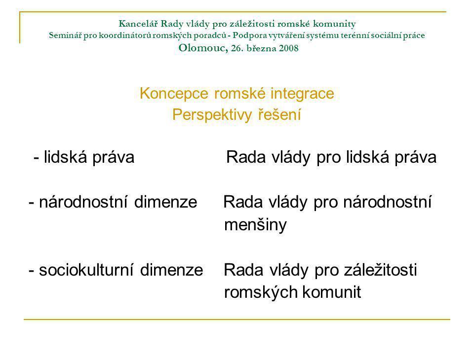 Kancelář Rady vlády pro záležitosti romské komunity Seminář pro koordinátorů romských poradců - Podpora vytváření systému terénní sociální práce Olomouc, 25.