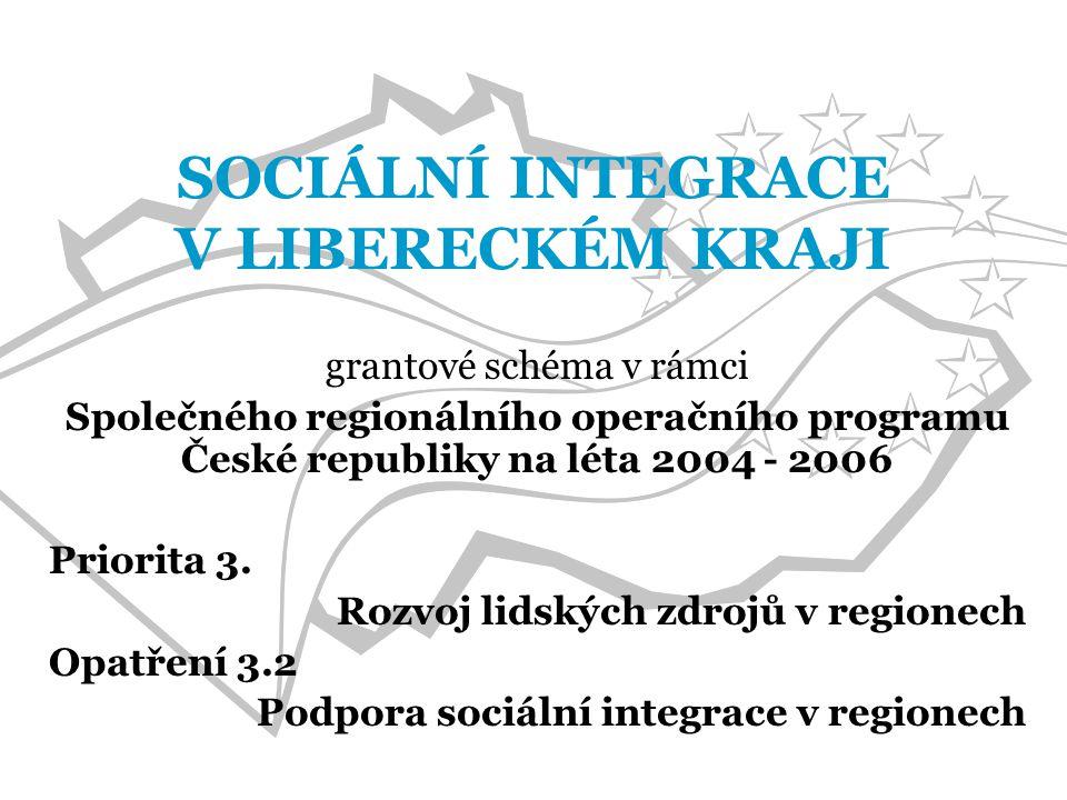 SOCIÁLNÍ INTEGRACE V LIBERECKÉM KRAJI grantové schéma v rámci Společného regionálního operačního programu České republiky na léta 2004 - 2006 Priorita 3.