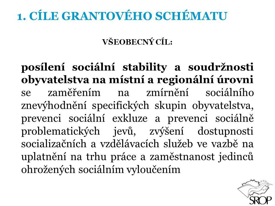 1. CÍLE GRANTOVÉHO SCHÉMATU VŠEOBECNÝ CÍL: posílení sociální stability a soudržnosti obyvatelstva na místní a regionální úrovni se zaměřením na zmírně