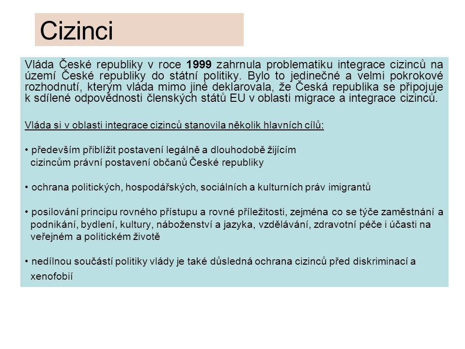 Cizinci Vláda České republiky v roce 1999 zahrnula problematiku integrace cizinců na území České republiky do státní politiky.