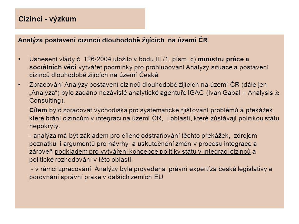 Cizinci – výzkum Analýza byla zpracována za dodržení všech běžných pravidel výzkumu a pokrývá všechny regiony České republiky.
