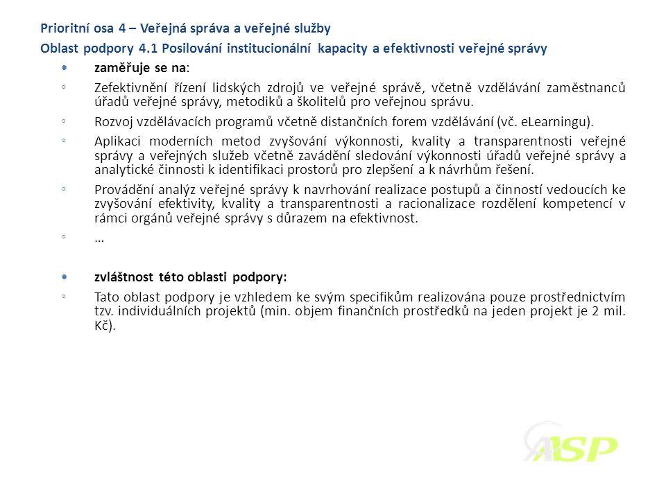 Prioritní osa 4 – Veřejná správa a veřejné služby Oblast podpory 4.1 Posilování institucionální kapacity a efektivnosti veřejné správy zaměřuje se na: