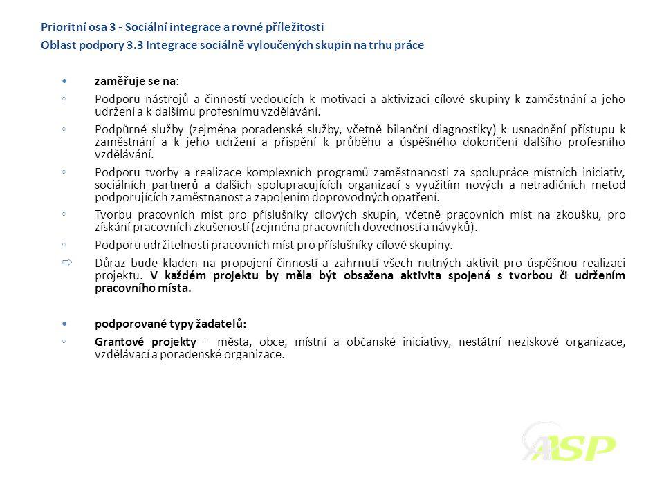 Prioritní osa 3 - Sociální integrace a rovné příležitosti Oblast podpory 3.3 Integrace sociálně vyloučených skupin na trhu práce zaměřuje se na: ◦ Pod