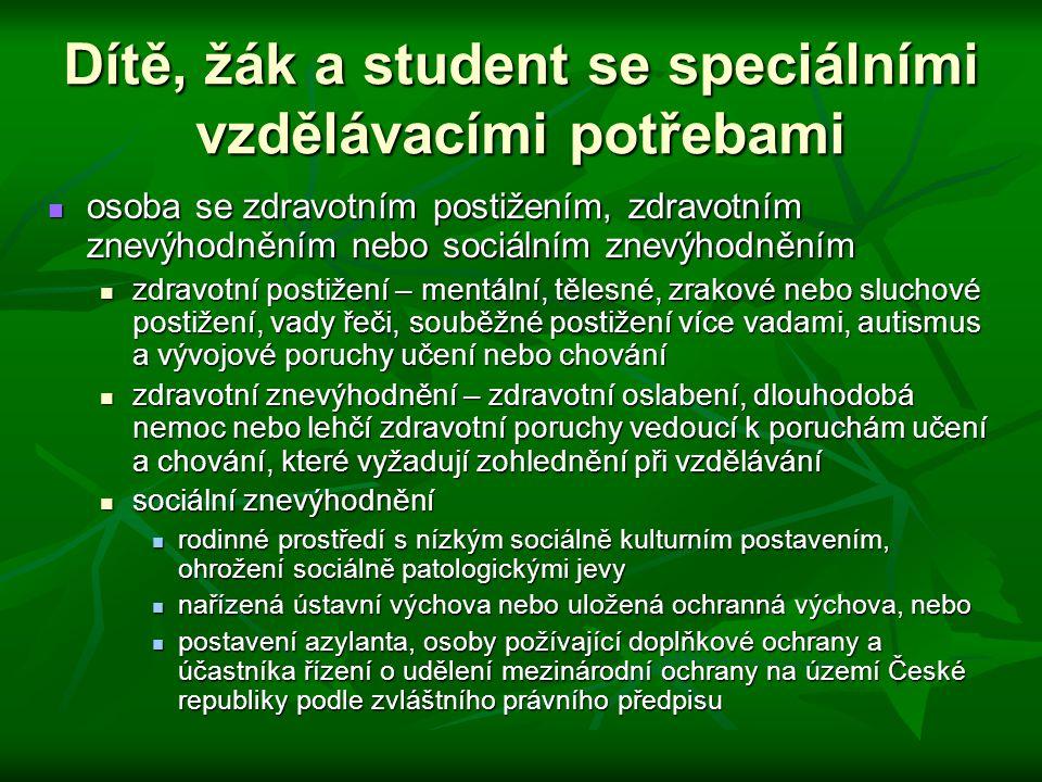 Dítě, žák a student se speciálními vzdělávacími potřebami osoba se zdravotním postižením, zdravotním znevýhodněním nebo sociálním znevýhodněním osoba