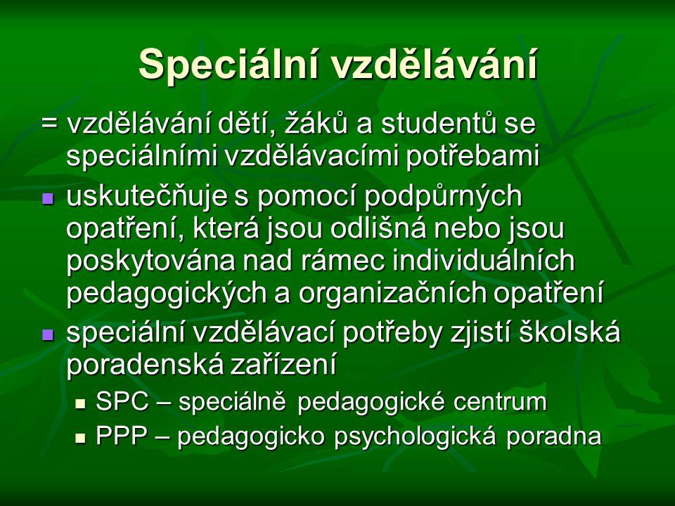 Speciální vzdělávání = vzdělávání dětí, žáků a studentů se speciálními vzdělávacími potřebami uskutečňuje s pomocí podpůrných opatření, která jsou odl